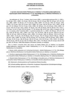 Uchwała Rady Miejskiej w Koszalinie nr XX/310/2012