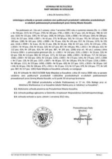 Uchwała Rady Miejskiej w Koszalinie nr XX/313/2012