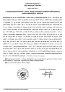 Uchwała Rady Miejskiej w Koszalinie nr XXI/322/2012