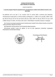 Uchwała Rady Miejskiej w Koszalinie nr XXI/325/2012