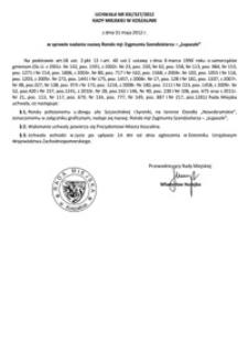 Uchwała Rady Miejskiej w Koszalinie nr XXI/327/2012