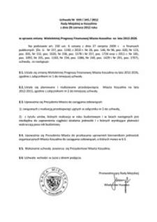Uchwała Rady Miejskiej w Koszalinie nr XXII/345/2012