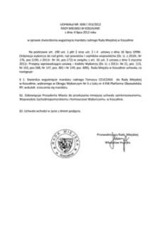 Uchwała Rady Miejskiej w Koszalinie nr XXIII/353/2012