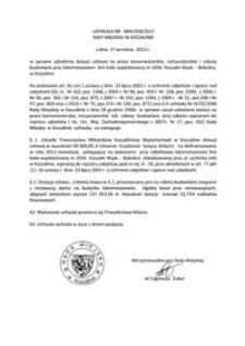 Uchwała Rady Miejskiej w Koszalinie nr XXIV/358/2012