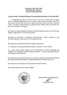 Uchwała Rady Miejskiej w Koszalinie nr XXIV/362/2012