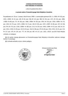 Uchwała Rady Miejskiej w Koszalinie nr XXV/374/2012