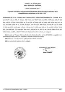 Uchwała Rady Miejskiej w Koszalinie nr XXV/375/2012