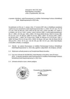 Uchwała Rady Miejskiej w Koszalinie nr XXV/378/2012