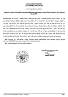 Uchwała Rady Miejskiej w Koszalinie nr XXV/381/2012