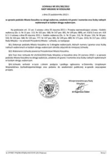Uchwała Rady Miejskiej w Koszalinie nr XXV/382/2012
