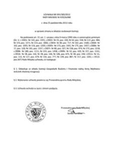 Uchwała Rady Miejskiej w Koszalinie nr XXV/385/2012