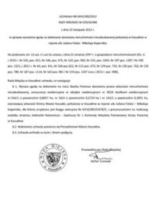 Uchwała Rady Miejskiej w Koszalinie nr XXVI/390/2012