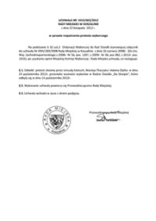 Uchwała Rady Miejskiej w Koszalinie nr XXVI/403/2012