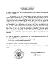 Uchwała Rady Miejskiej w Koszalinie nr XXVII/410/2012
