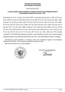 Uchwała Rady Miejskiej w Koszalinie nr XXVII/421/2012