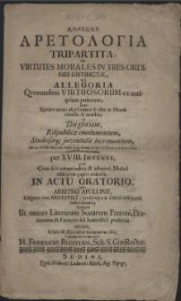 Aretologia Tripartita, seu virtutes morales in tres ordines distinctae, sub allegoria qvorundam virtuosorum ex antiqvitate petitorum [...] ad Dei gloriam, Reipublicae emolumentum, Studiosaeque juventutis incrementum, die II. Octobr. Pomer. a.C. MDCXCVI. in Hypero Scholae civicae repetendae ac exhibendae, per XVIII. Juvenes, qvos cum [...] conaminibus et admixta Musica [...] pagina indicabit [...] submissus [...] M. Fridericus Redtelius, Sch. S. Conrector