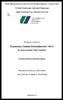 Preparatyka i badania fotokatalizatorów TiO2/C do oczyszczania wody i ścieków