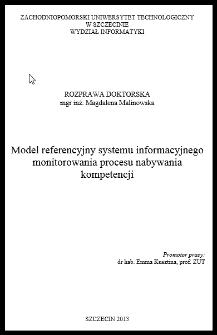 Model referencyjny systemu informacyjnego monitorowania procesu nabywania kompetencji
