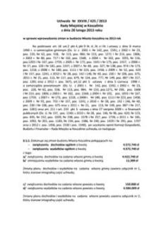Uchwała Rady Miejskiej w Koszalinie nr XXVIII/425/2013