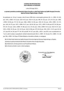 Uchwała Rady Miejskiej w Koszalinie nr XXVIII/442/2013