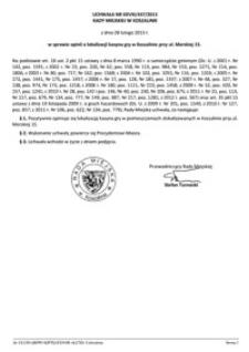 Uchwała Rady Miejskiej w Koszalinie nr XXVIII/447/2013