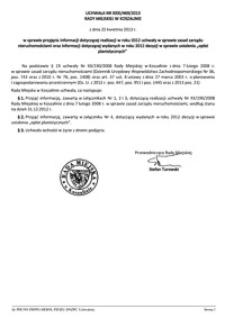 Uchwała Rady Miejskiej w Koszalinie nr XXXI/469/2013