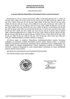 Uchwała Rady Miejskiej w Koszalinie nr XXXI/475/2013