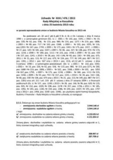Uchwała Rady Miejskiej w Koszalinie nr XXXI/476/2013