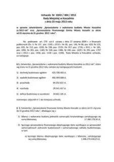 Uchwała Rady Miejskiej w Koszalinie nr XXXII/484/2013
