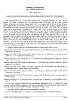 Uchwała Rady Miejskiej w Koszalinie nr XXXII/490/2013