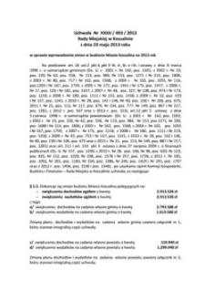 Uchwała Rady Miejskiej w Koszalinie nr XXXII/493/2013