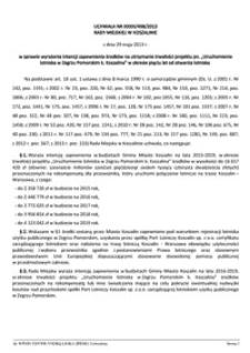 Uchwała Rady Miejskiej w Koszalinie nr XXXIII/498/2013