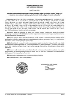 Uchwała Rady Miejskiej w Koszalinie nr XXXIII/501/2013