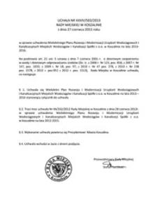 Uchwała Rady Miejskiej w Koszalinie nr XXXIV/503/2013
