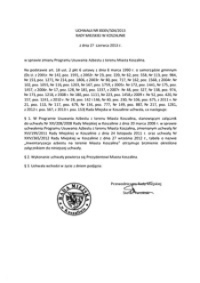 Uchwała Rady Miejskiej w Koszalinie nr XXXIV/504/2013