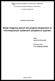 Model integracji danych dla prognoz eksperckich w informatycznych systemach zarządzania ryzykiem