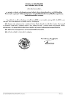 Uchwała Rady Miejskiej w Koszalinie nr XXXV/532/2013