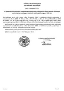 Uchwała Rady Miejskiej w Koszalinie nr XXXVII/568/2013