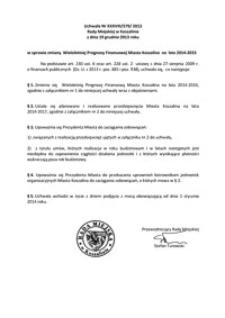Uchwała Rady Miejskiej w Koszalinie nr XXXVIII/579/2013