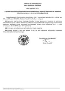 Uchwała Rady Miejskiej w Koszalinie nr XXXVIII/581/2013