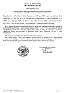 Uchwała Rady Miejskiej w Koszalinie nr XXXVIII/582/2013