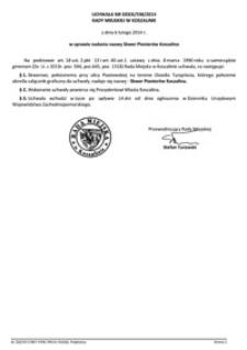 Uchwała Rady Miejskiej w Koszalinie nr XXXIX/598/2014
