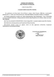 Uchwała Rady Miejskiej w Koszalinie nr XL/600/2014