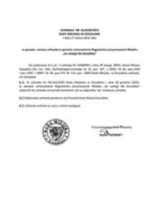 Uchwała Rady Miejskiej w Koszalinie nr XLI/628/2014