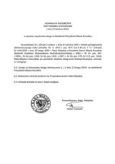 Uchwała Rady Miejskiej w Koszalinie nr XLII/638/2014