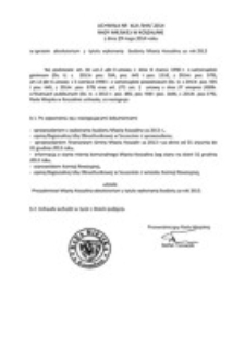 Uchwała Rady Miejskiej w Koszalinie nr XLIII/644/2014