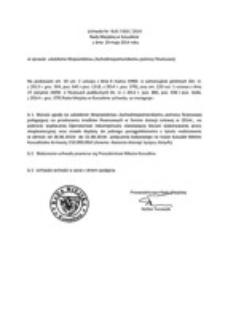 Uchwała Rady Miejskiej w Koszalinie nr XLIII/650/2014