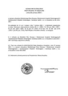 Uchwała Rady Miejskiej w Koszalinie nr XLV/655/2014