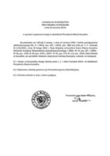 Uchwała Rady Miejskiej w Koszalinie nr XLVIII/694/2014