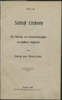 Schloß Löcknitz : ein Beitrag zur brandenburgisch-preussischen Geschichte